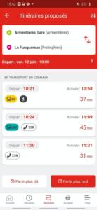 Un pas de plus vers le MaaS à Lille: capture d'écran du calculateur d'itinéraire